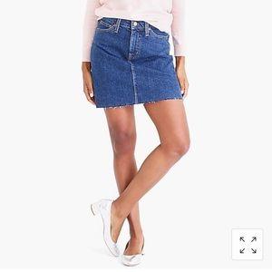 J Crew Raw Edge Denim Mini Skirt, dark wash